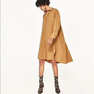NWT Zara Camel Oversized Swing Shirt Dress